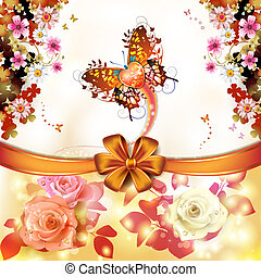 Valentine's day card with butterfly of love and roses