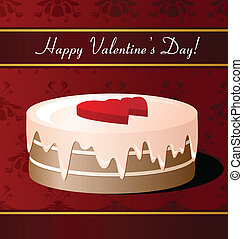Valentines Day card with cake