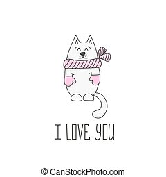 Valentines day card with cat. Vector illustration