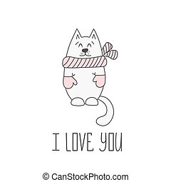 Valentines day card with cat. Vector illustration.