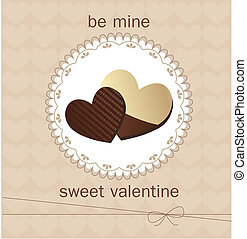 Valentine`s Day card with chocolate