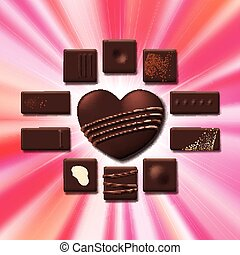 Valentines Day card with chocolate sweet candy heart...