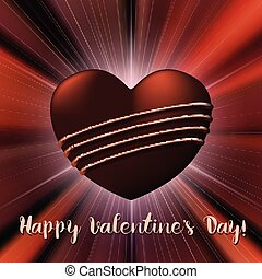 Valentines Day card with chocolate sweet candy heart -...