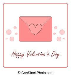 Valentine's day card with closed envelope. vector design illustration
