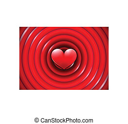 Valentines Day card with concentric circles and heart