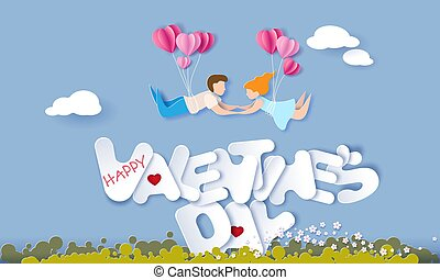 Valentines day card with couple in love