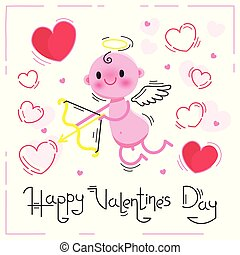 Valentines Day card with cute cupid and hearts on a white background. Vector illustration.