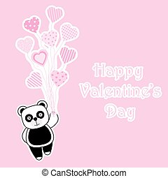 Valentine's Day card with cute panda brings heart balloons