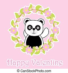 Valentine's Day card with cute panda on flower wreath
