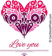 Valentine's Day card with decorative stylish heart. Wedding invitation