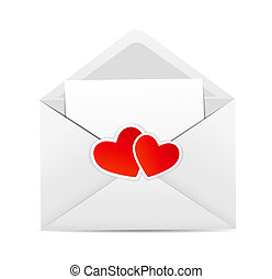 Valentine`s Day Card with Envelope and Heart Vector Illustration