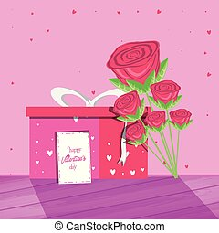 valentines day card with gift and rose