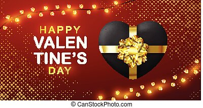 Valentines Day card with Gift Box and Heart. Black Heart in a shape of Gift Box. Sale