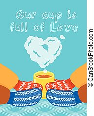 Valentines Day card with hands and cup