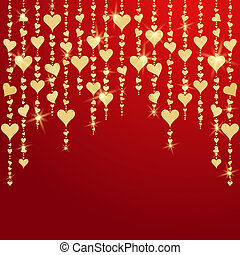 Valentines day card with hanging golden hearts