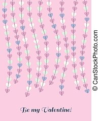 Valentines day card with hanging hearts
