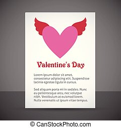 Valentine's day card with heart and light background