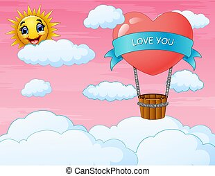 Valentine's day card with heart balloon flying on the sky