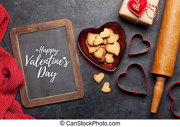 Valentines day card with heart gingerbread cookies