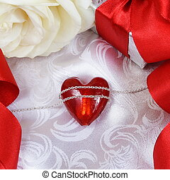 Valentine's Day Card with Heart over Silk