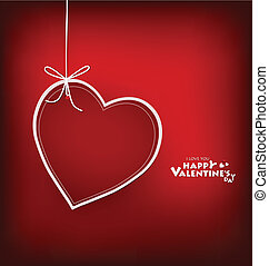 Valentine's day card with Heart Paper. Vector illustration