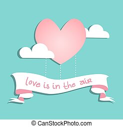 Valentines Day Card with Heart Shaped Pink Hot Air Balloon on Blue Background