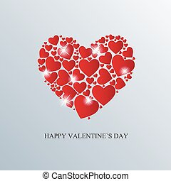 Valentine`s Day Card with Heart Vector Illustration