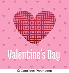 Valentine's day card with hearts and pattern pink background