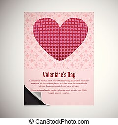Valentine's day card with hearts and pink pattern background