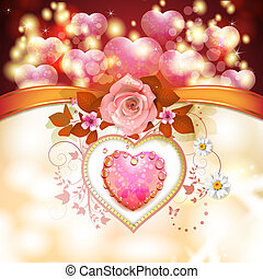 Valentine's day card with hearts and rose