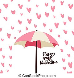 valentines day card with hearts and umbrella