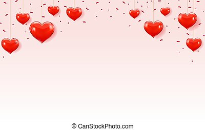 Valentines Day Card With Hearts Border
