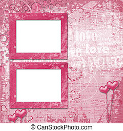 Valentines day card with hearts for congratulation to holiday