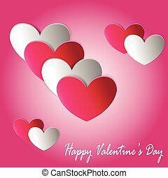 Valentines Day card with line of cut paper hearts. Vector...