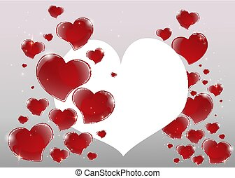 Valentines Day Card with mirrored shiny red hearts and 3d bright gray background