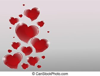 Valentines Day Card with mirrored shiny red hearts and 3d effect