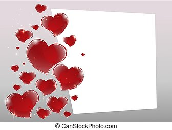 Valentines Day Card with mirrored shiny red hearts and geometric 3d bright gray