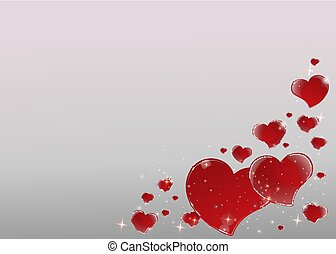 Valentines Day Card with mirrored shiny red hearts frame with 3d effect bright gray background