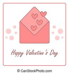 Valentine's day card with open envelope. vector design illustration