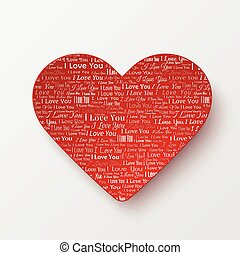 Valentines Day card with paper heart