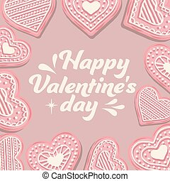 Valentine's day card with pink cookies
