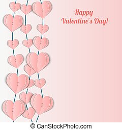Valentine's Day card with pink garlands of hearts.