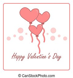 Valentine's day card with pink heart balloons. vector design illustration