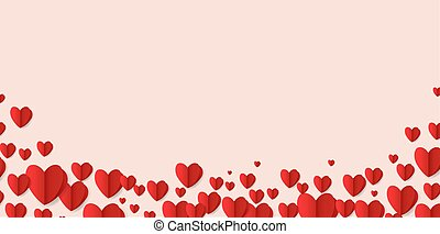 Valentines Day Card With Red Hearts Border