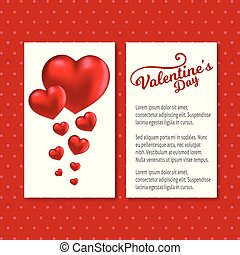 Valentine's day card with red pattern background