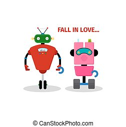 Valentines day card with robots