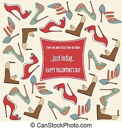 Valentine's Day  card with shoes and funny message