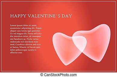 Valentine's Day card with text and two hearts on a red background - EPS10