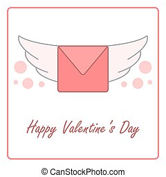 Valentine's day card with winged envelope. vector design illustration