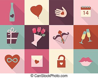 Valentines Day cards set. Heart icons symbols, heart in hand, infinity heard, love icon collections. Vector icons